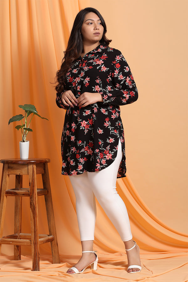 Black Floral Print Long-line Shirt