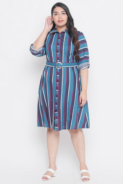 Teal Blue Stripe Belt Detail Shirt Dress