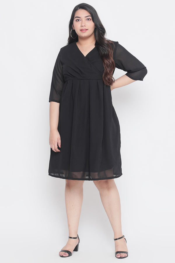 Black Georgette Wrap Dress