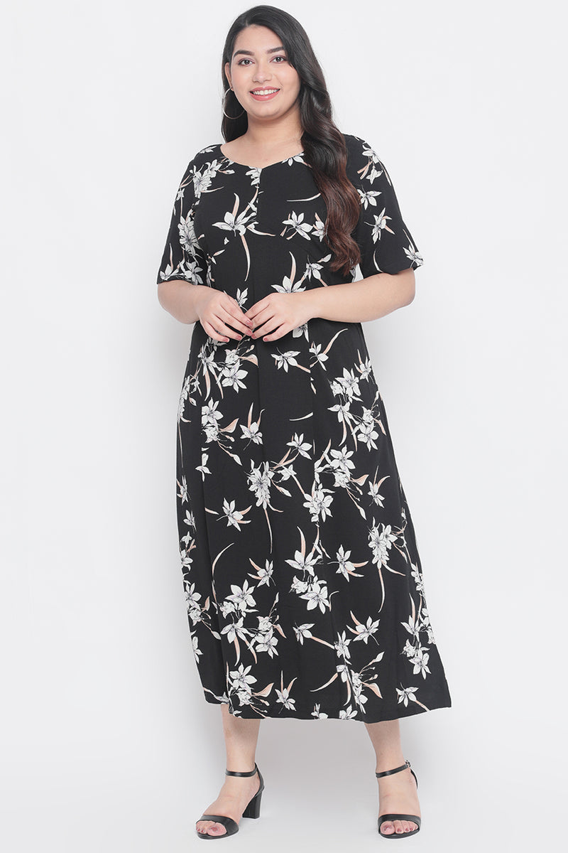 Black Floral Printed Frill Sleeve Dress