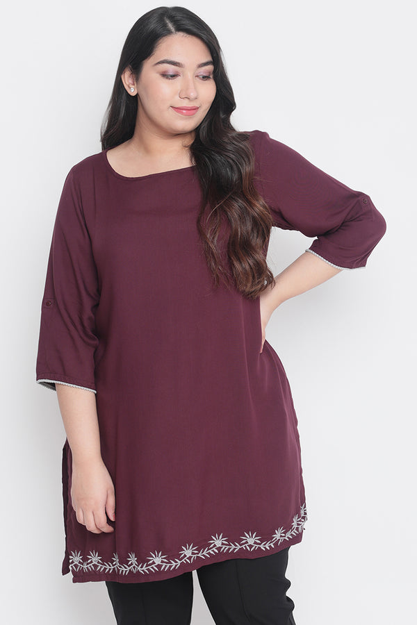 Plum Embroidery Detail Short Kurti