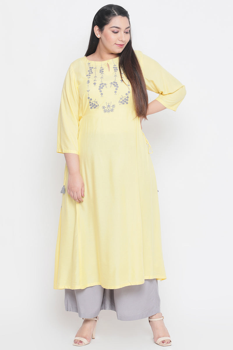 Yellow Grey Embroidery Side Tie Kurti
