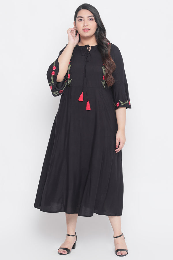 Black Bell Sleeves A-Line Dress