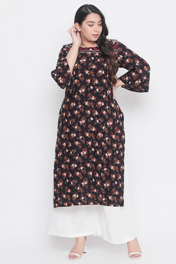 Black Aztec Flower Printed Frill Sleeve Kurti