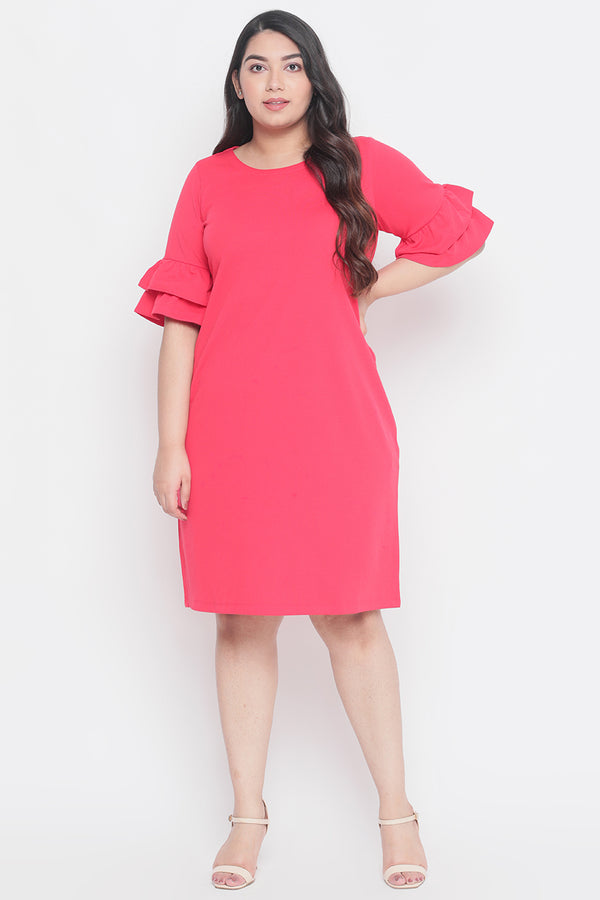 Red Solid Frilled Sleeve Dress