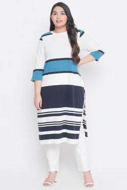 Turquoise White Stripe Knitted Kurti