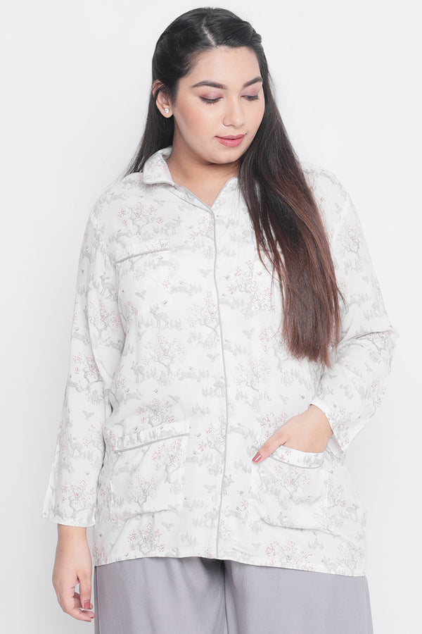 White Deer Printed Night Shirt