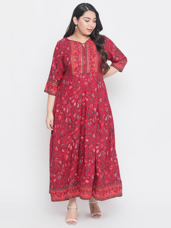 Persian Pink Overall Printed Sequin Detail Gown
