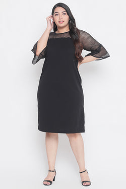 Black Lace Neckline Short Dress