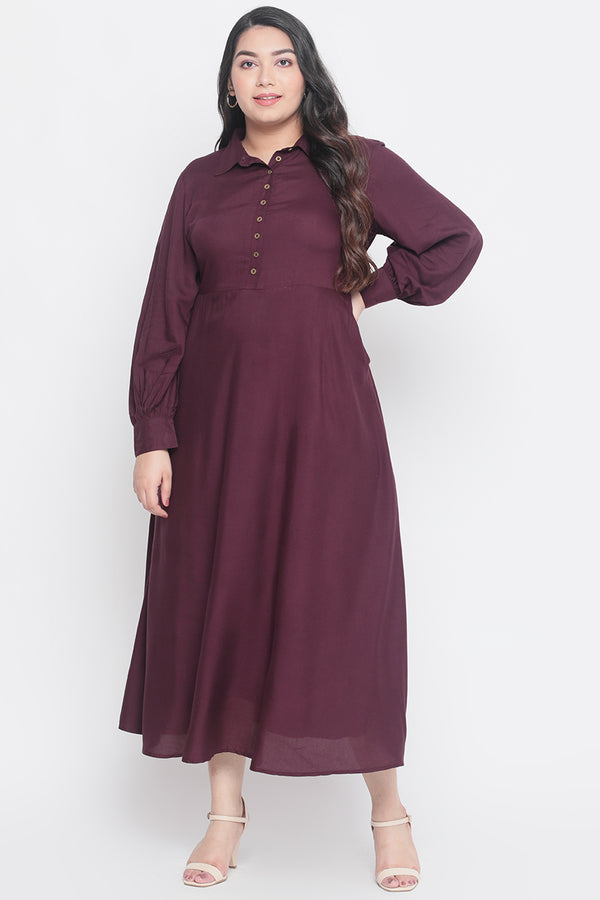 Plum Balloon Sleeve Maxi Dress