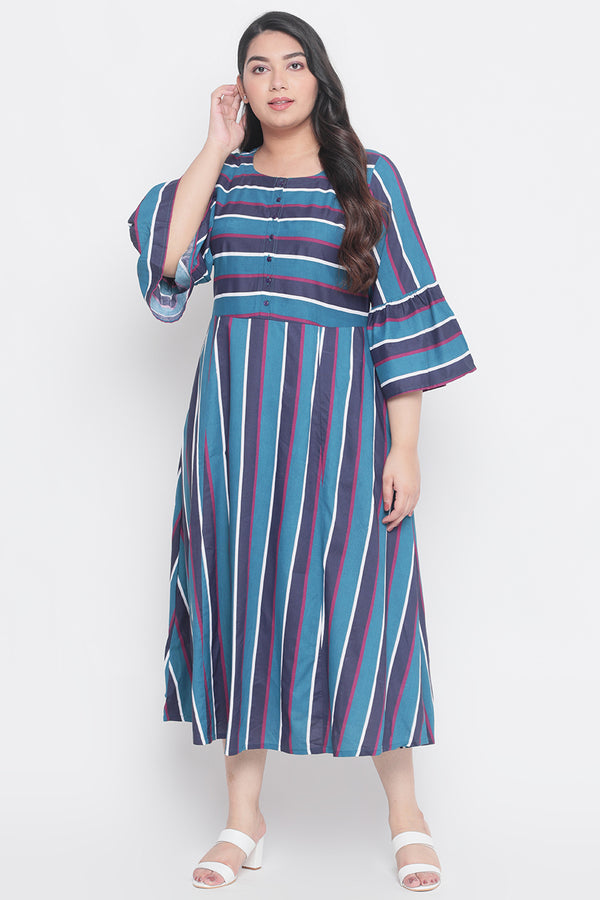 Teal Blue Stripe Frill Sleeve A-Line Dress