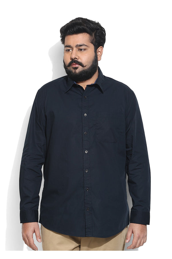 Plain Navy Shirt With Cobalt Print Detailing