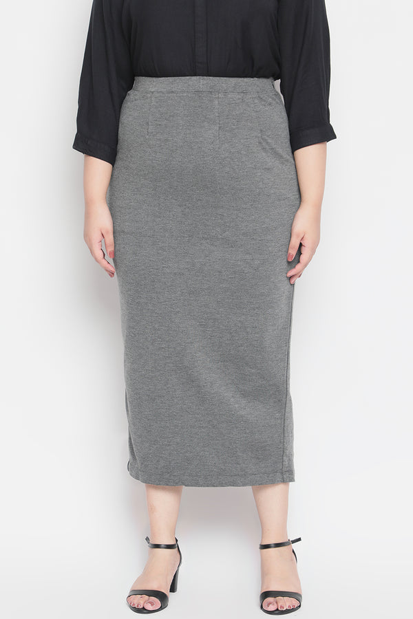 Grey Full Length Pencil Skirt