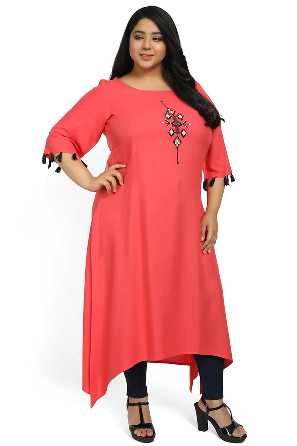 Coral Embroidered Handkerchief Hemline Kurti