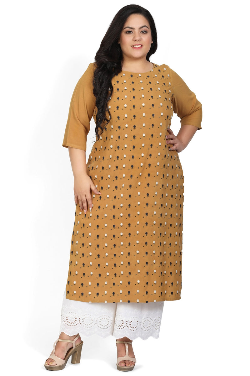 Golden Yellow Floral Embroidery Kurti