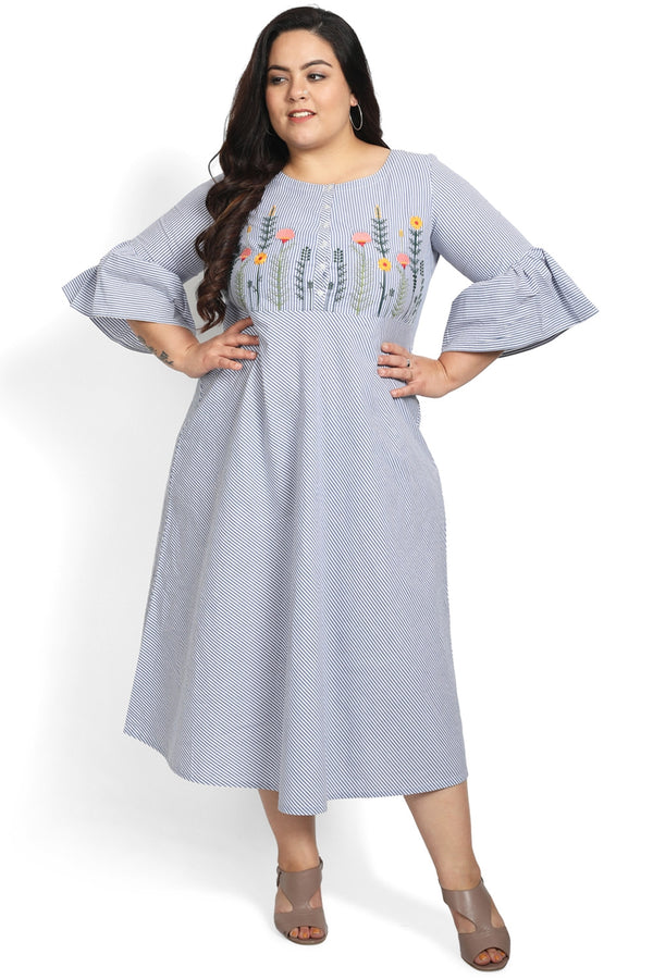 Blue Stripe Embroidery A-Line Tunic