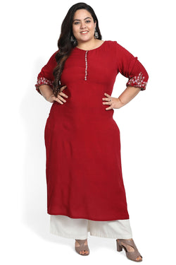 Chilly Red Embroidered Sleeve Kurti