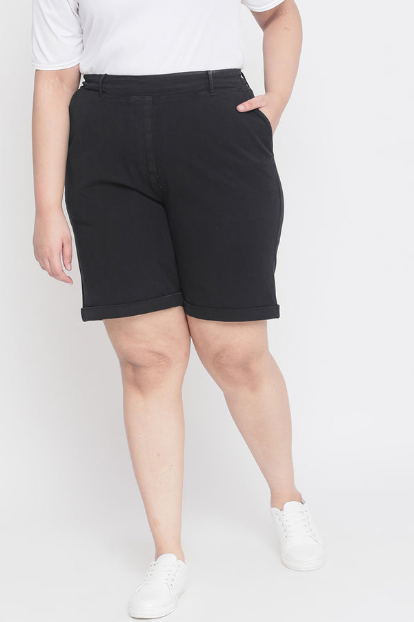 Black Basic Elastic Shorts