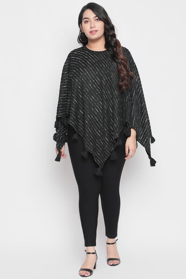 Black Gold Tassle Detail Poncho