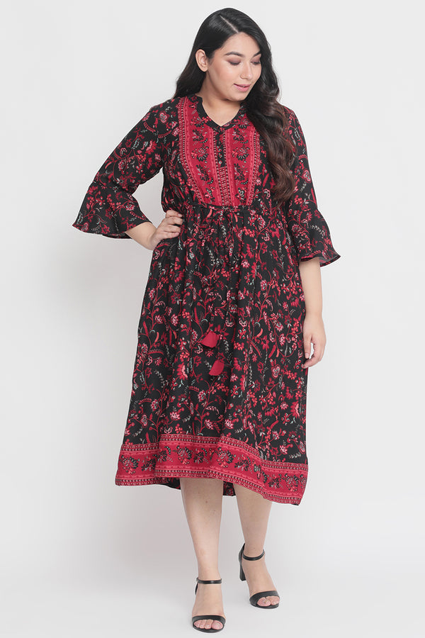 Black Ethnic Printed Dress