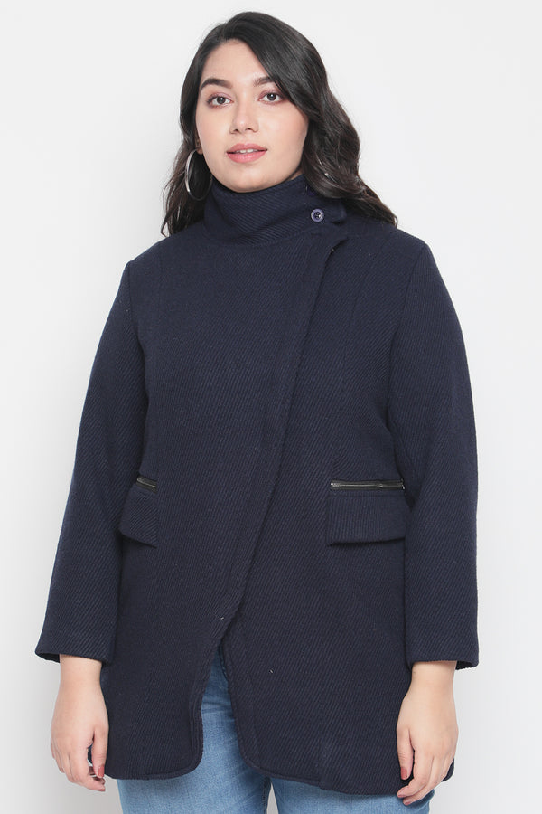 Navy Zip Closure Jacket