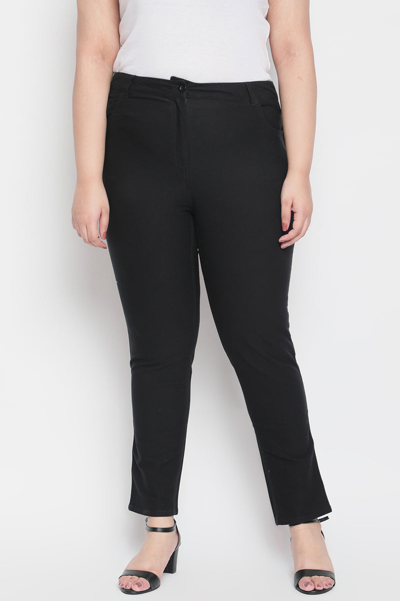 Black White Tape Detail Stretch Pants