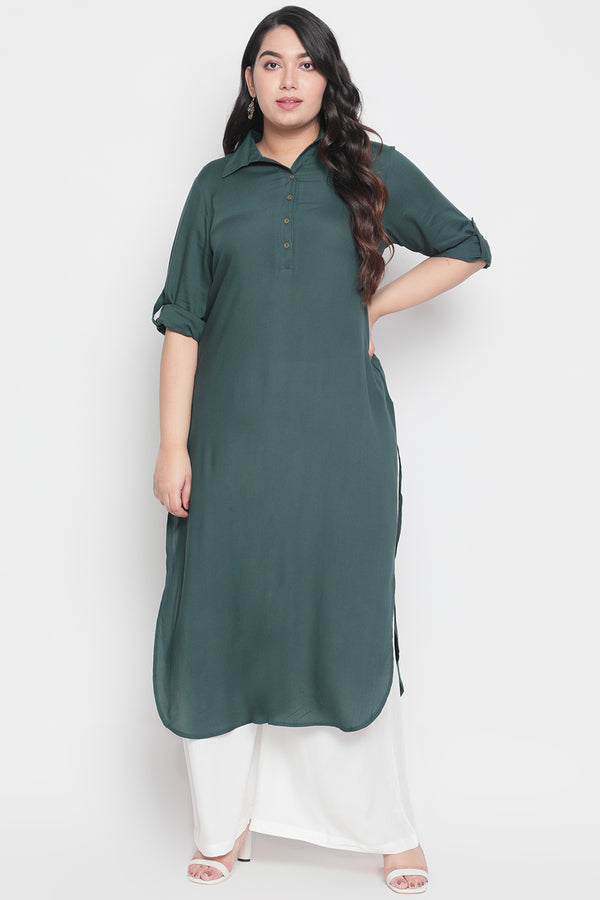 Emerald Green Roll Up Sleeve Round Hemline Kurti