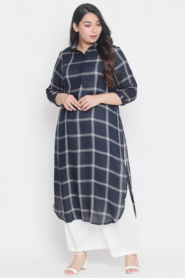 Navy Check Check Roll Up Sleeve Round Hemline Kurti