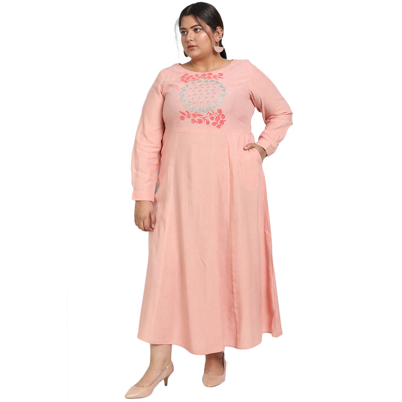 Baby Pink Embroidery Detail Full Length Dress