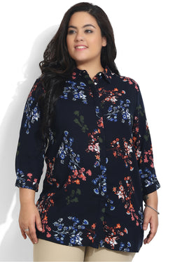 Red Navy Printed Concealed Placket Shirt