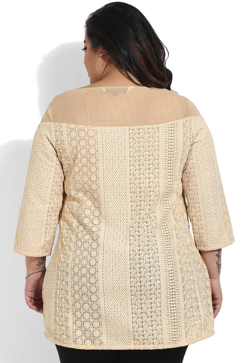 Beige Embroidery Top
