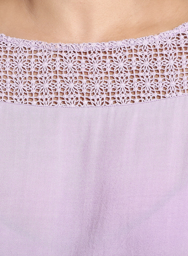 Lavender Embroidery Detailed Top