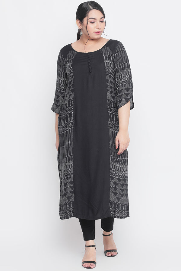 Black Printed Arc Seam Detailing Kurti