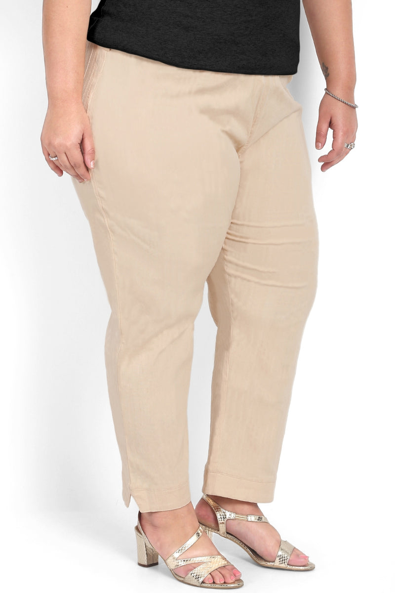 Beige Self Pattern Relax Trousers