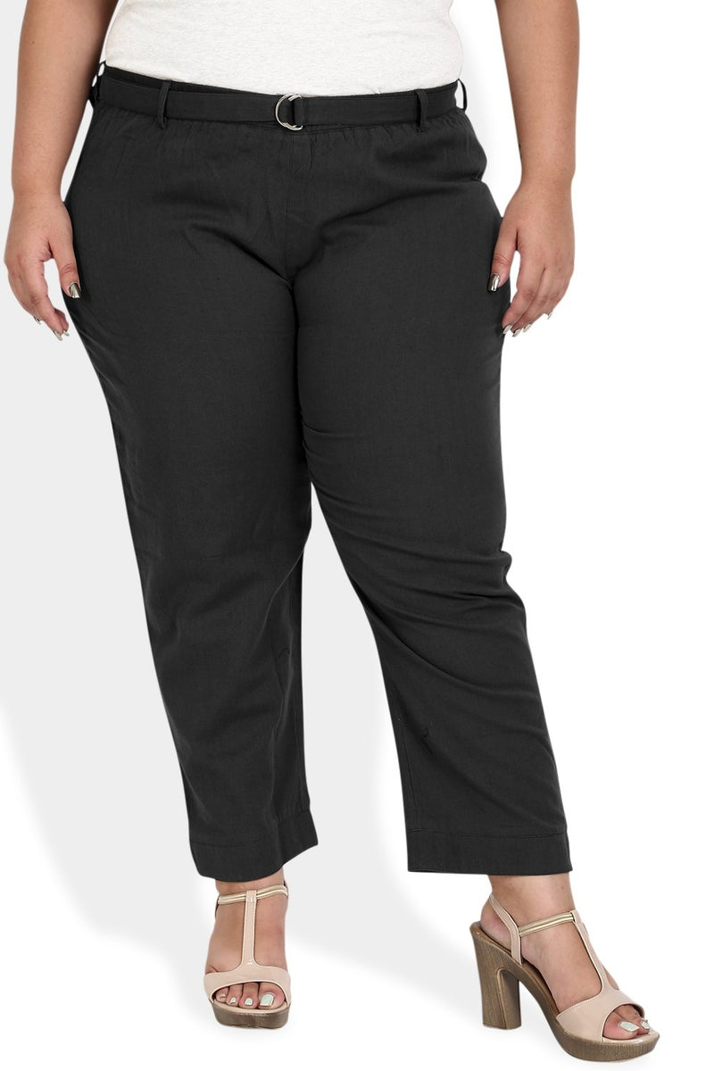 Black Basic Stretchable Relax Trousers