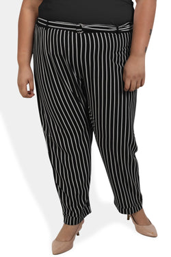 Black White Stripe Relax Trousers