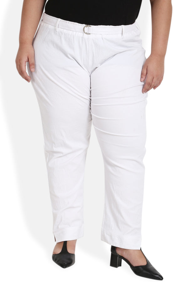 White Cotton Relax Trousers