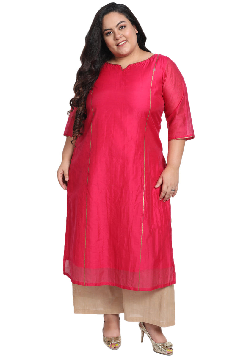 Persian Pink Princess Seam Embellished Chanderi Kurti