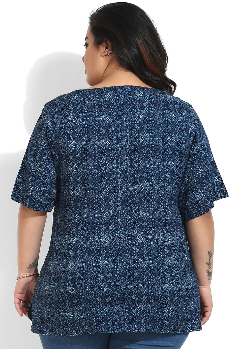 Indigo Printed Top
