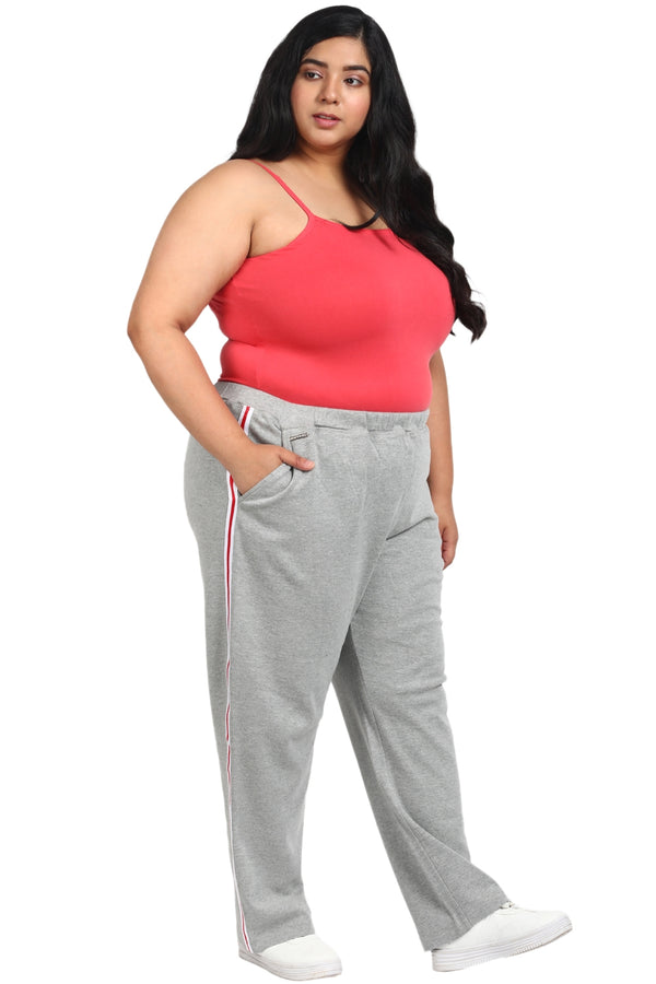 Grey White Red Side Stripe Lounge Pants