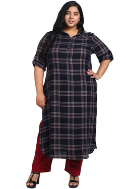 Navy Check Roll Up Sleeve Kurti