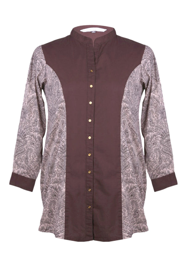 Brown Paisley Print Princess Seam Shirt Tunic