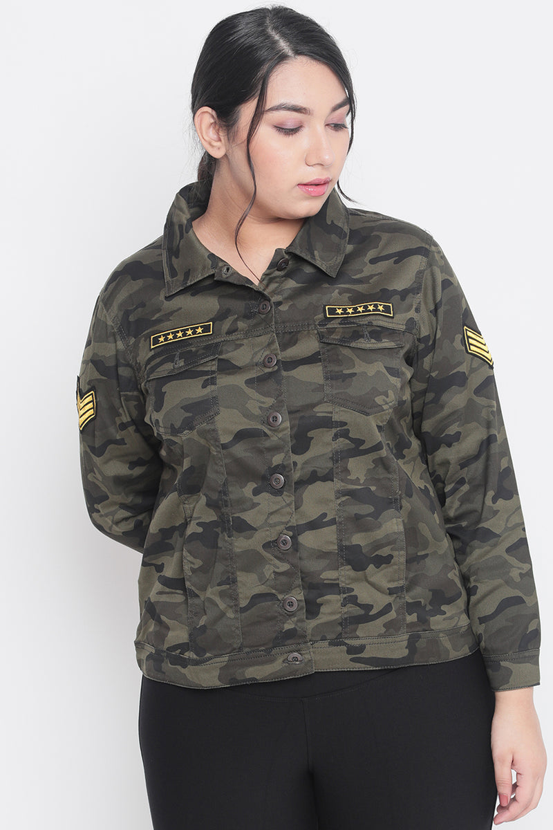 Camouflage Print Patch Jacket