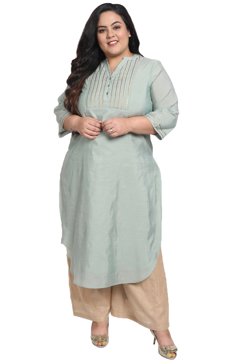 Menthe Green Embellished Yoke Chanderi Kurti