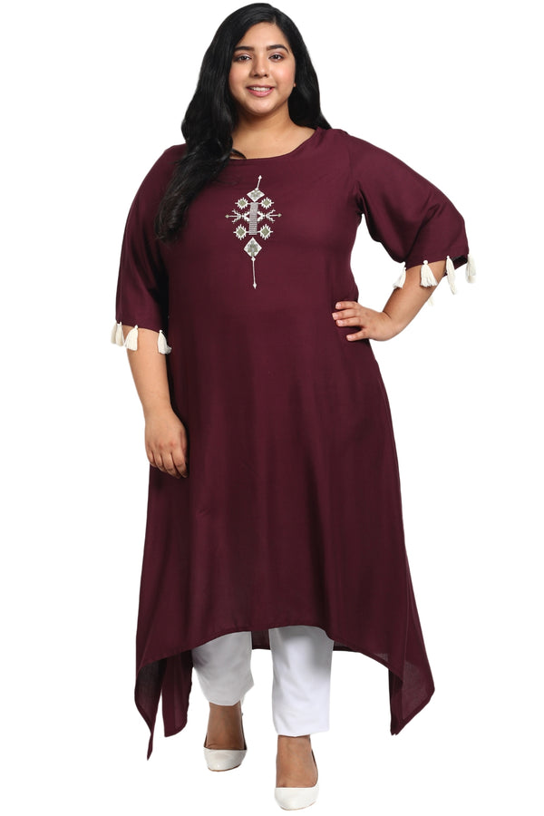 Plum Embroidered Handkerchief Hemline Kurti