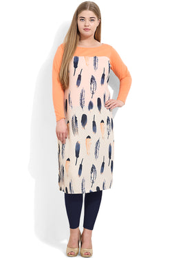 Cream Orange Feather Print Wonder Fit Kurti