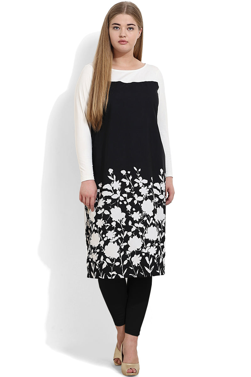 White Black Flower Wonder Fit Kurti