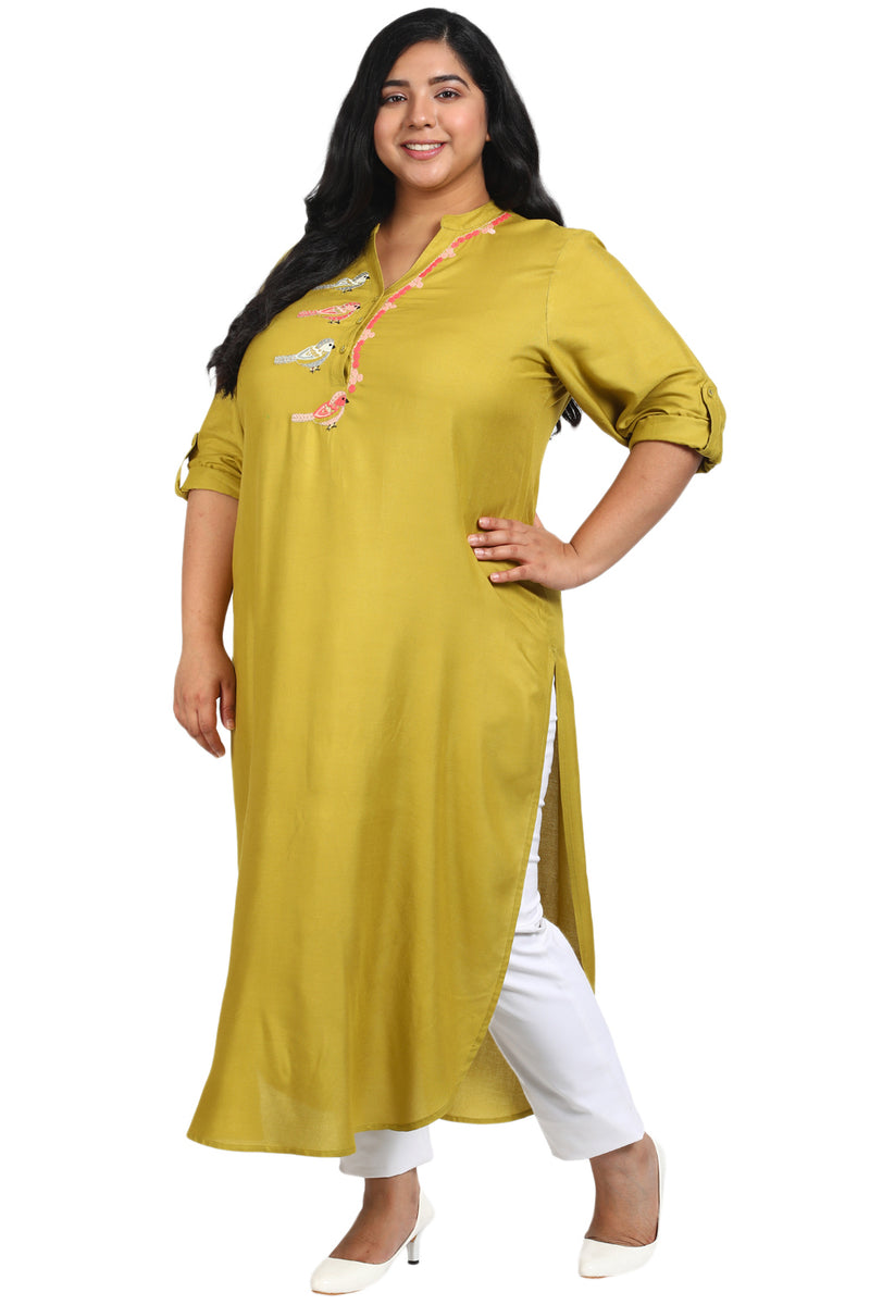 Mustard Parrot Embroidery Placket Closure Kurti