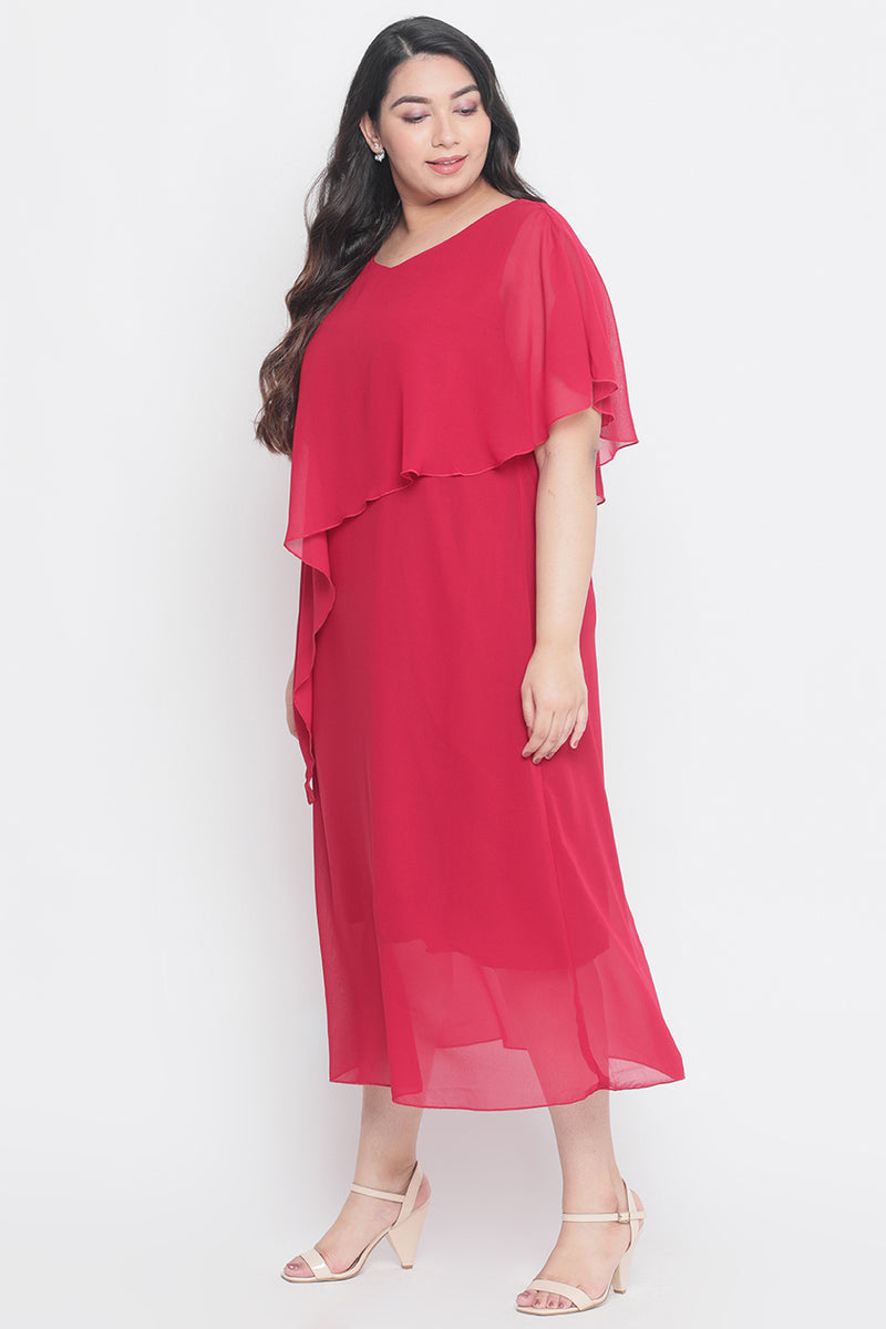 Berry Red Cape Dress