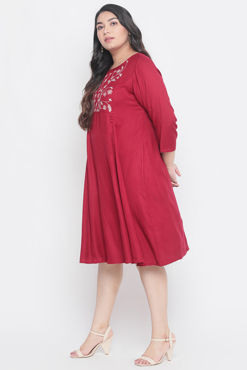 Yoke Embroidered Persian Pink Dress